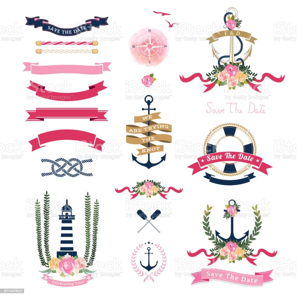 Anchor ornaments - Nautical Wedding Theme With Floral And Anchor Ornaments Royalty Free Stock Vector Art
