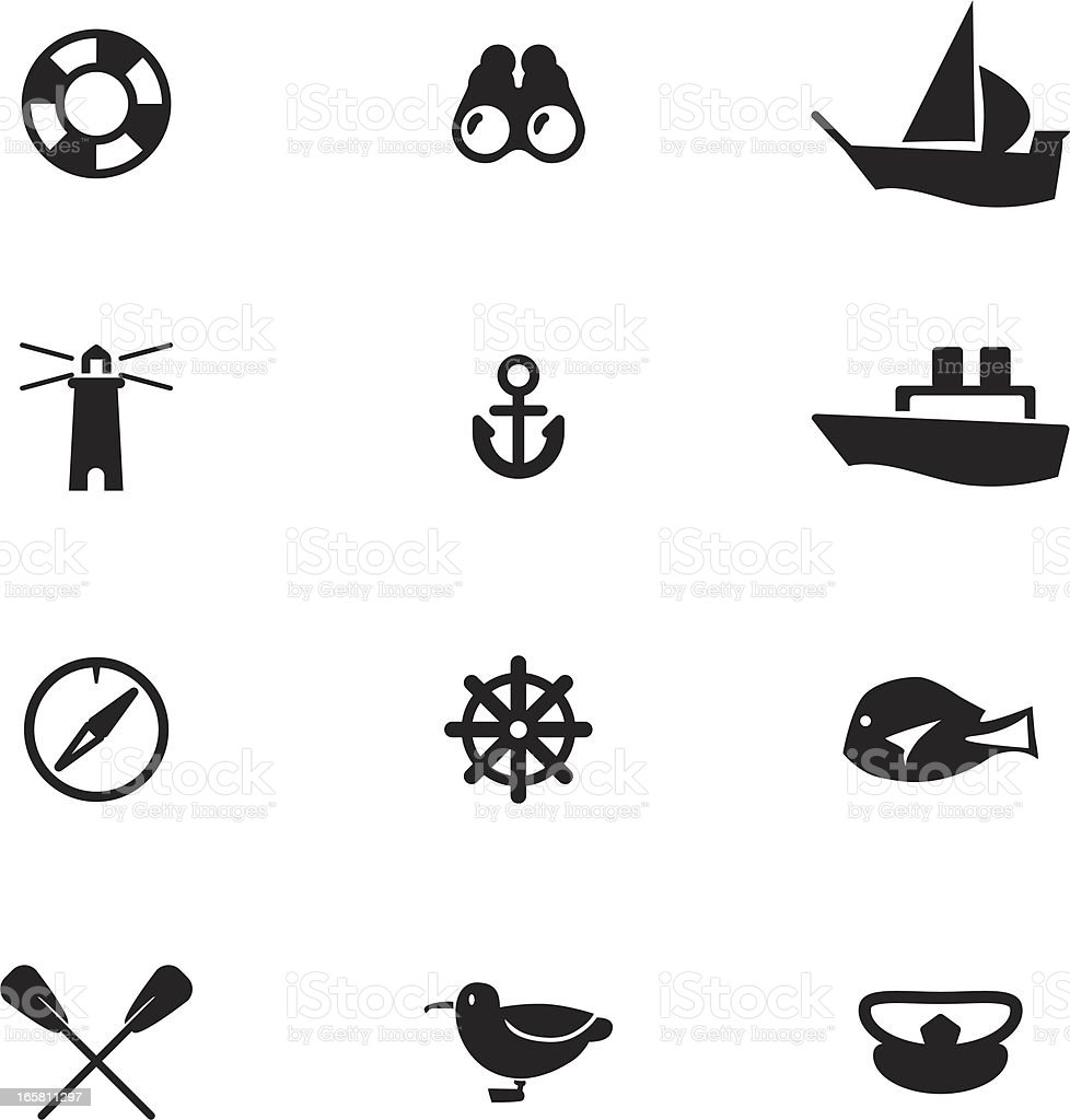 Nautical-themed vector icons, including anchor, lighthouse royalty-free stock vector art