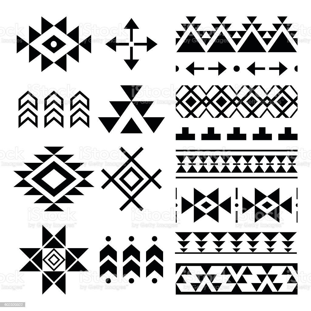 Navajo print, Aztec pattern, Tribal design elements vector art illustration