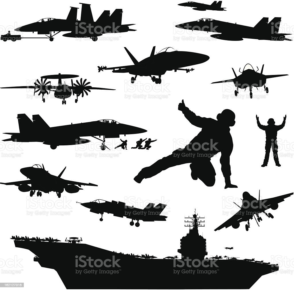 Naval aviation silhouettes vector art illustration