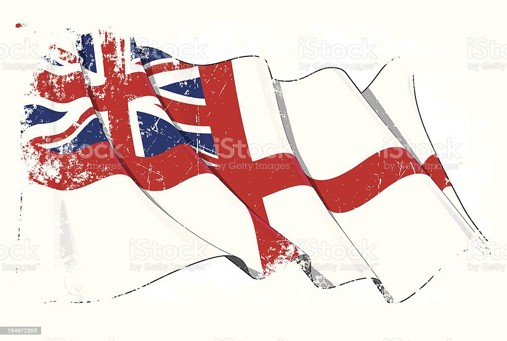 UK Naval Ensign Flag Grunge royalty-free stock vector art