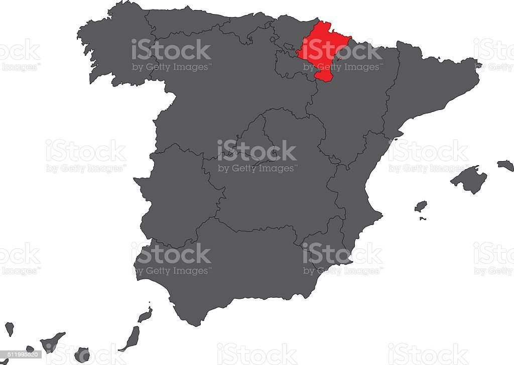 Navarra red map on gray Spain map vector vector art illustration