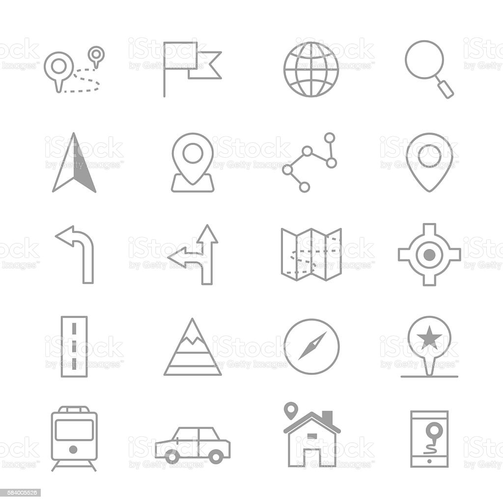 Navigation and location Icons Line Set Of Vector Illustration vector art illustration