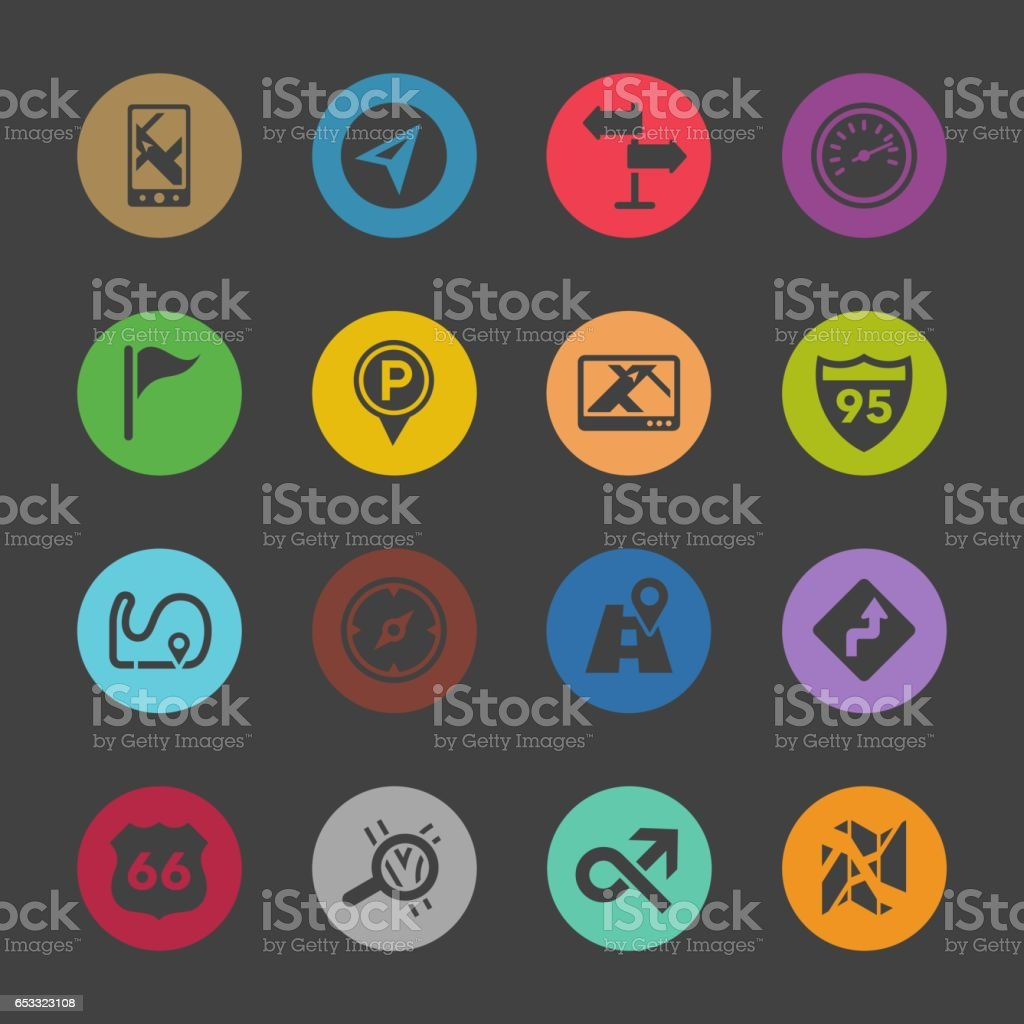 Navigation and Map Icons - Color Circle Series vector art illustration