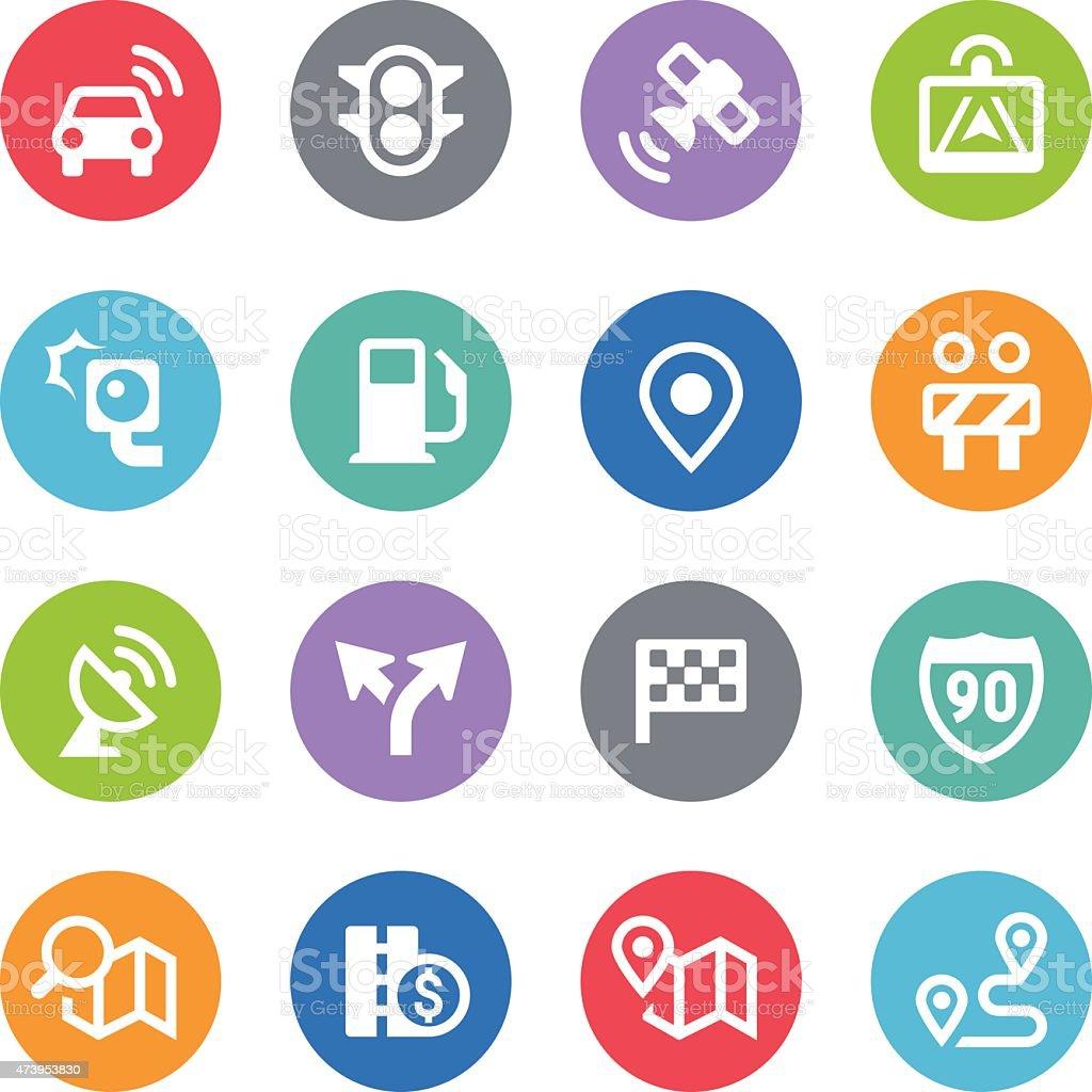 GPS Navigation and Road Icons - Circle Illustrations vector art illustration