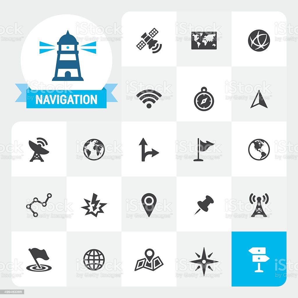 Navigation base vector icons and label vector art illustration