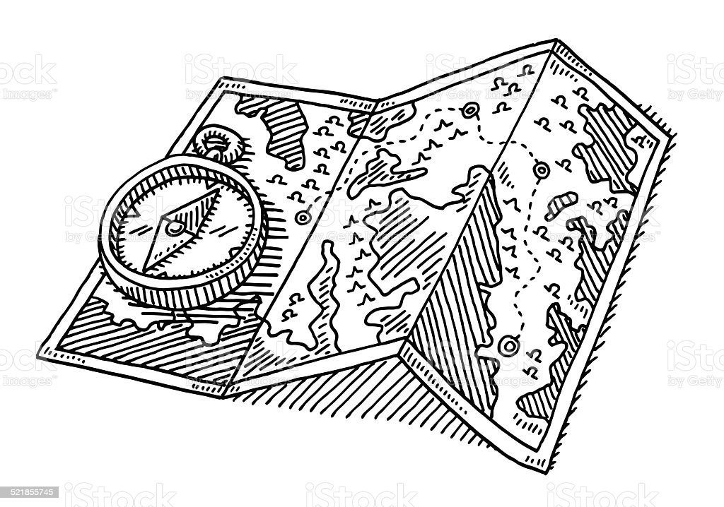 Navigation Compass Folded Map Drawing vector art illustration