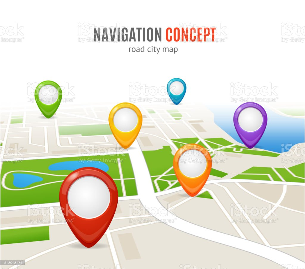 Navigation Concept Road City Map. Vector vector art illustration