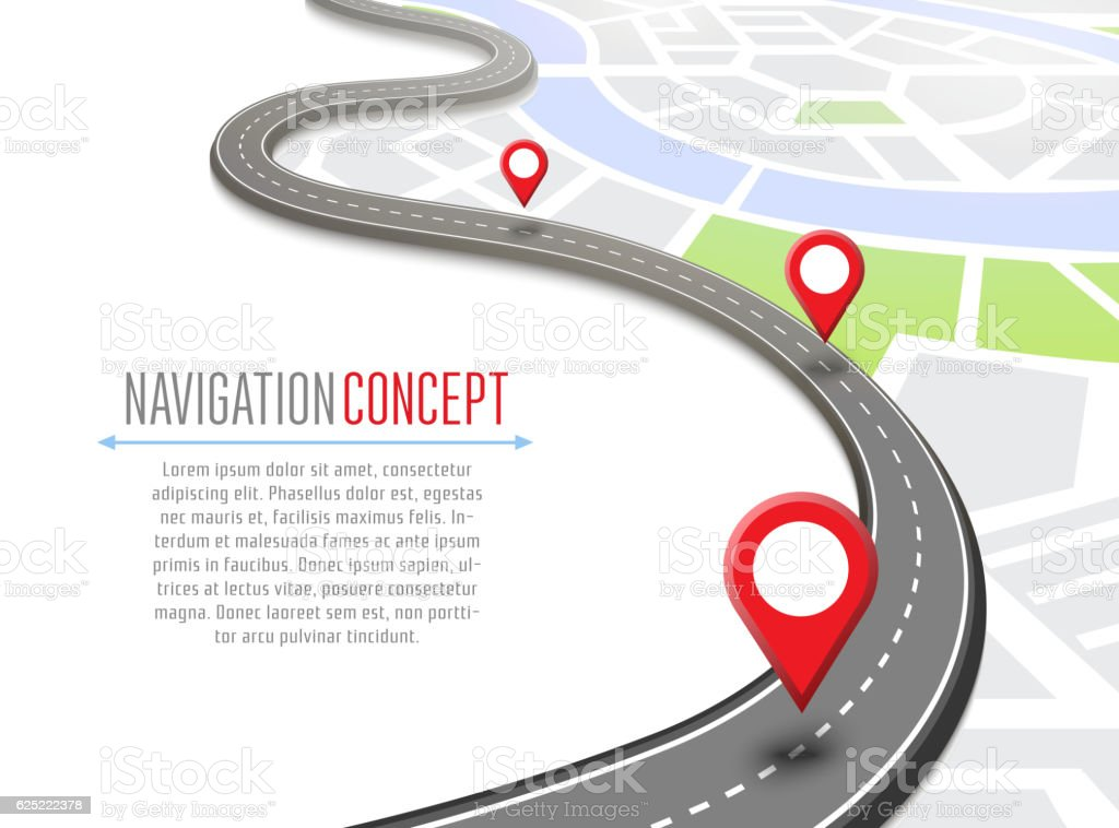 Navigation concept with pin pointer vector art illustration