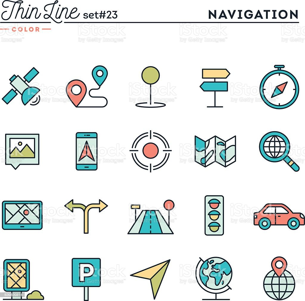 Navigation, direction, maps, traffic and more, thin line color icons vector art illustration