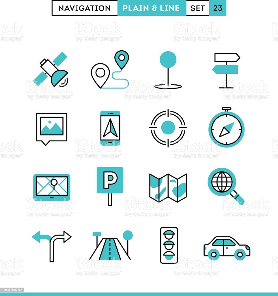 Navigation, direction, maps, traffic and more. vector art illustration