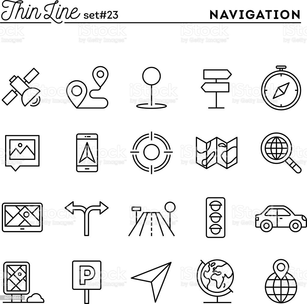 Navigation, direction, maps, traffic and more vector art illustration