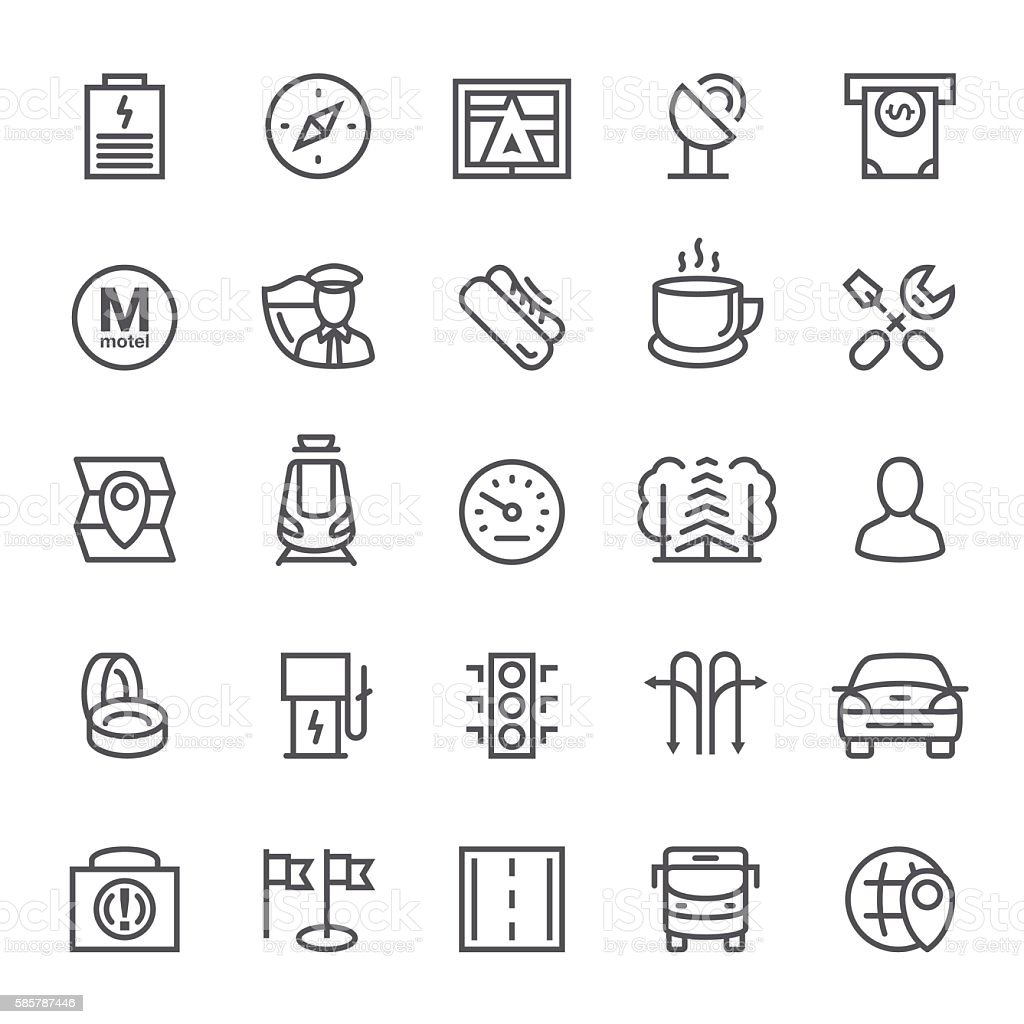Navigation GPS and Road Line Icons vector art illustration