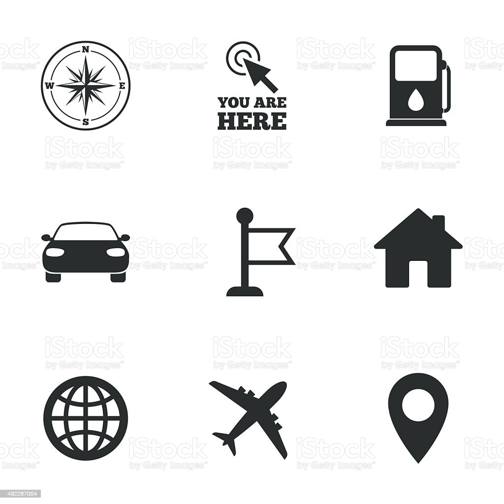 Navigation, gps icons. Windrose, compass signs vector art illustration