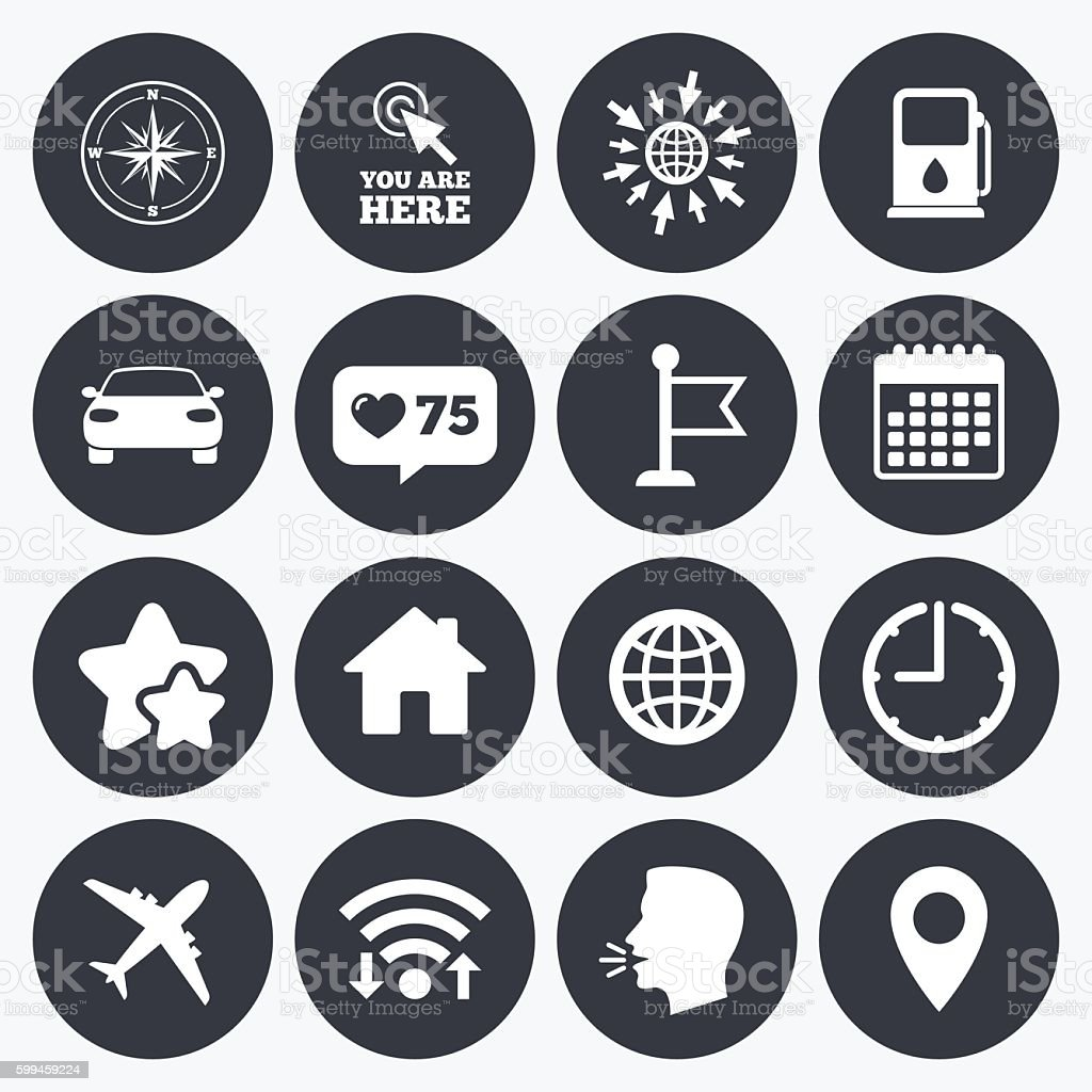 Navigation, gps icons. Windrose, compass signs. vector art illustration