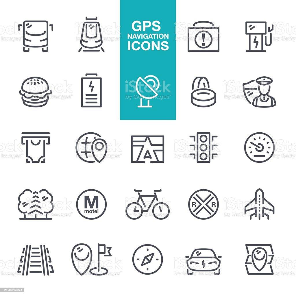 Navigation GPS line icons vector art illustration