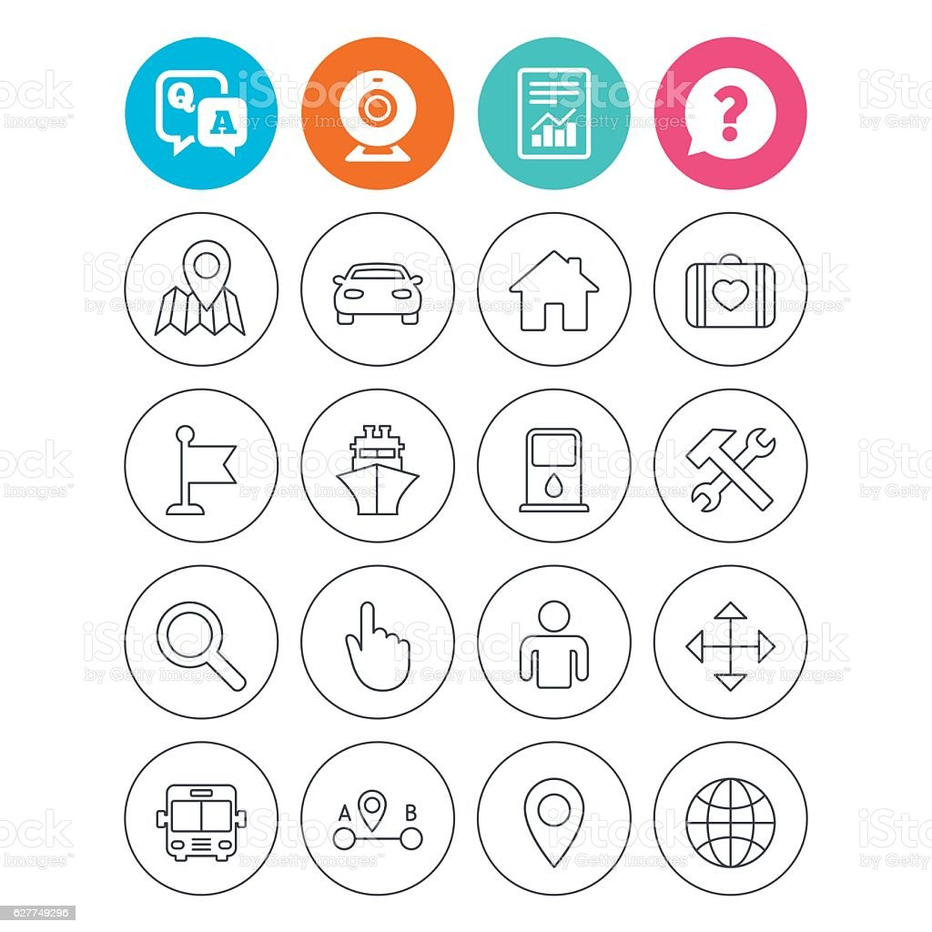 GPS navigation icon. Car, Bus and Ship transport. vector art illustration