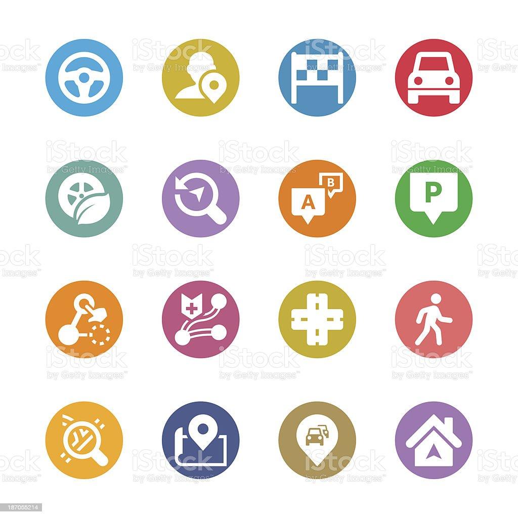 Navigation Icon Set | Multicolor Series royalty-free stock vector art