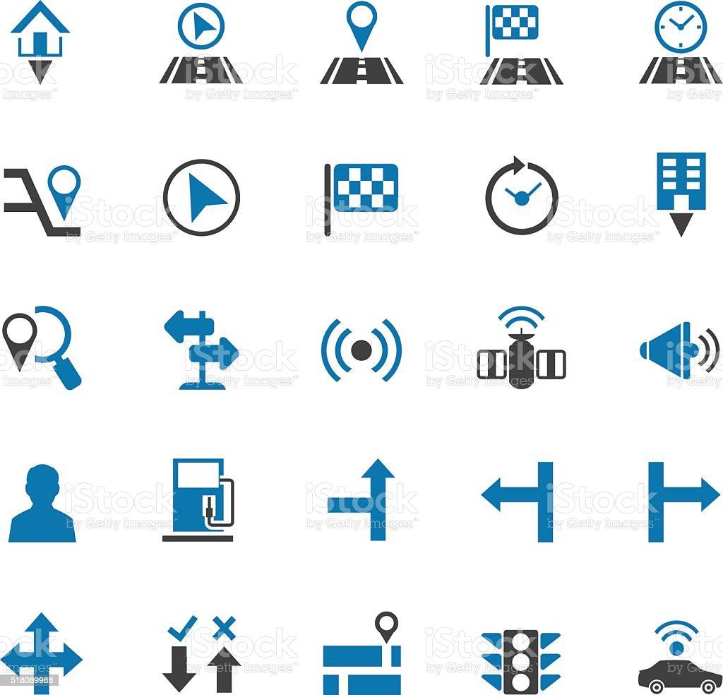 Navigation icon set vector art illustration
