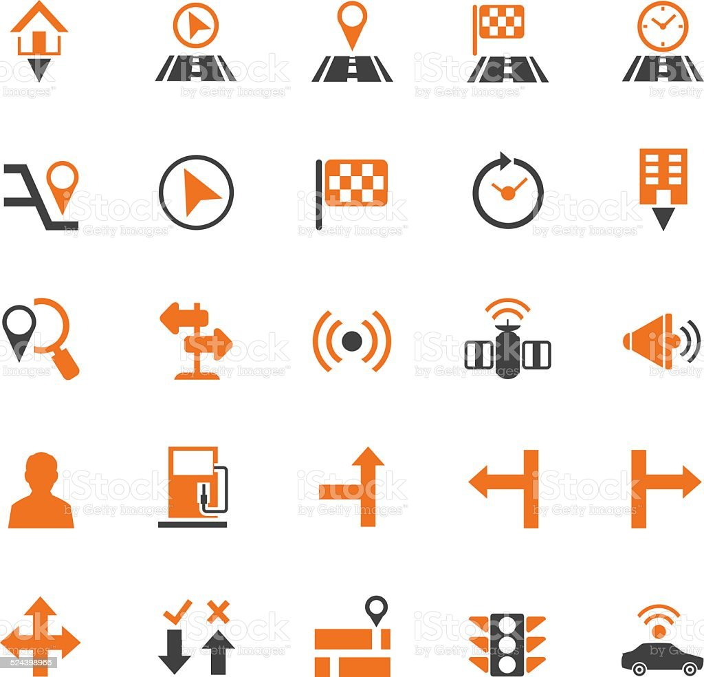 Navigation icon set vector art illustration
