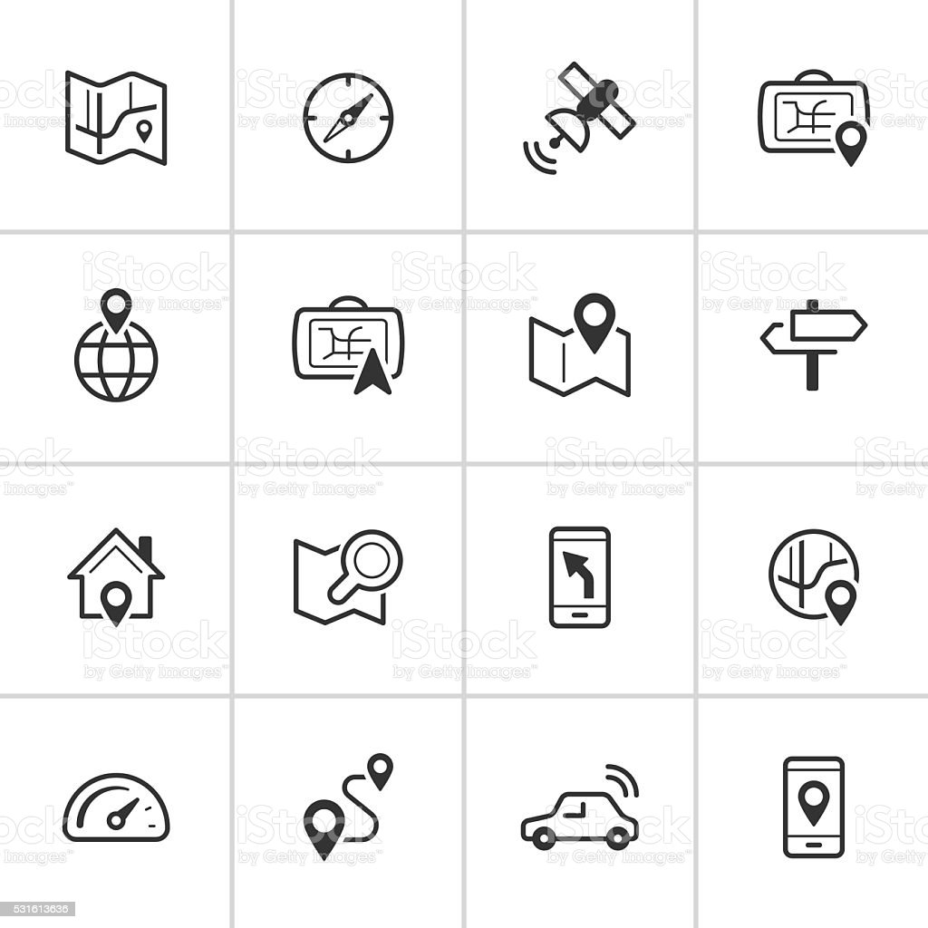 Navigation Icons — Inky Series vector art illustration