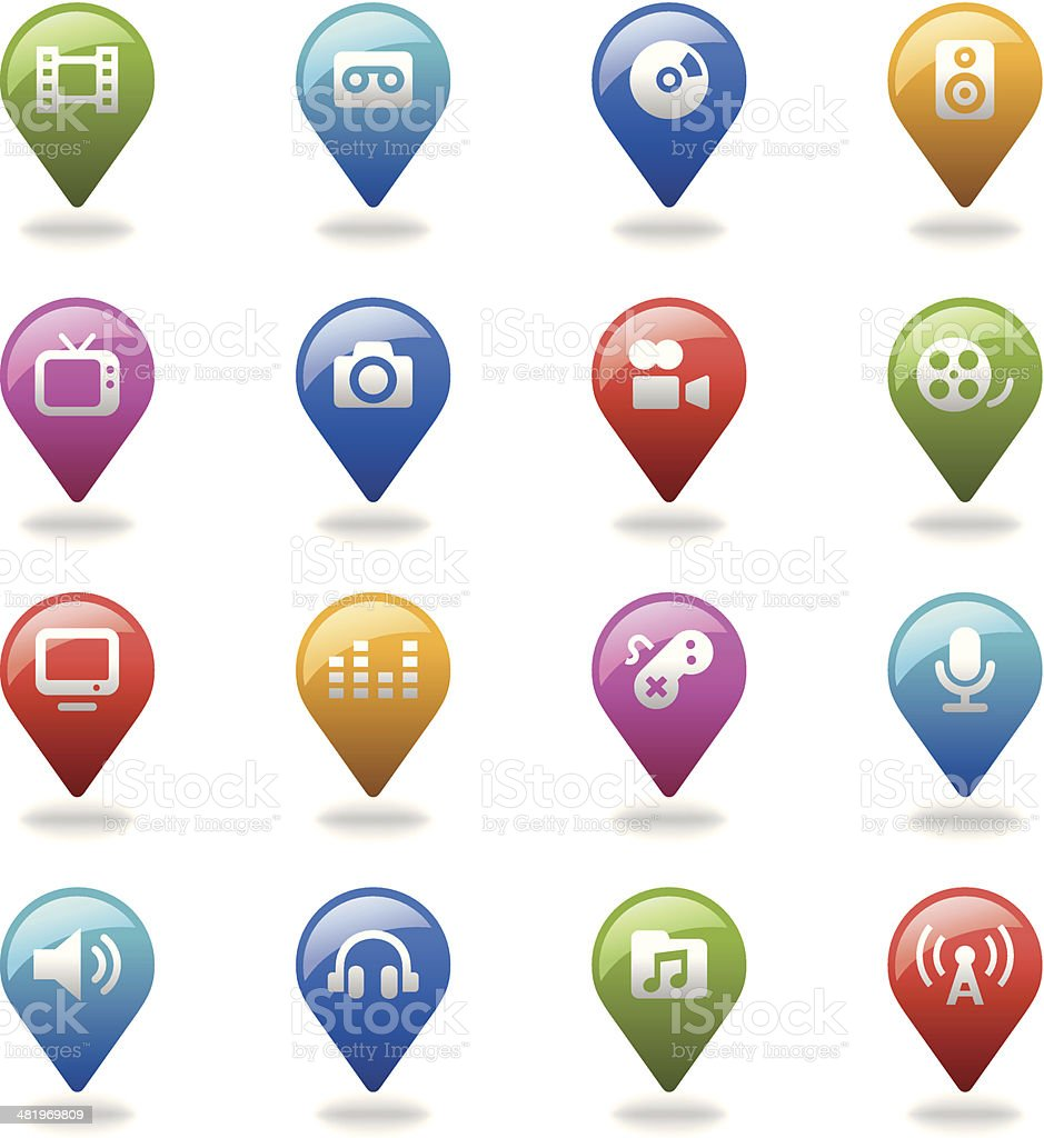 Navigation Icons Set | Multimedia royalty-free stock vector art