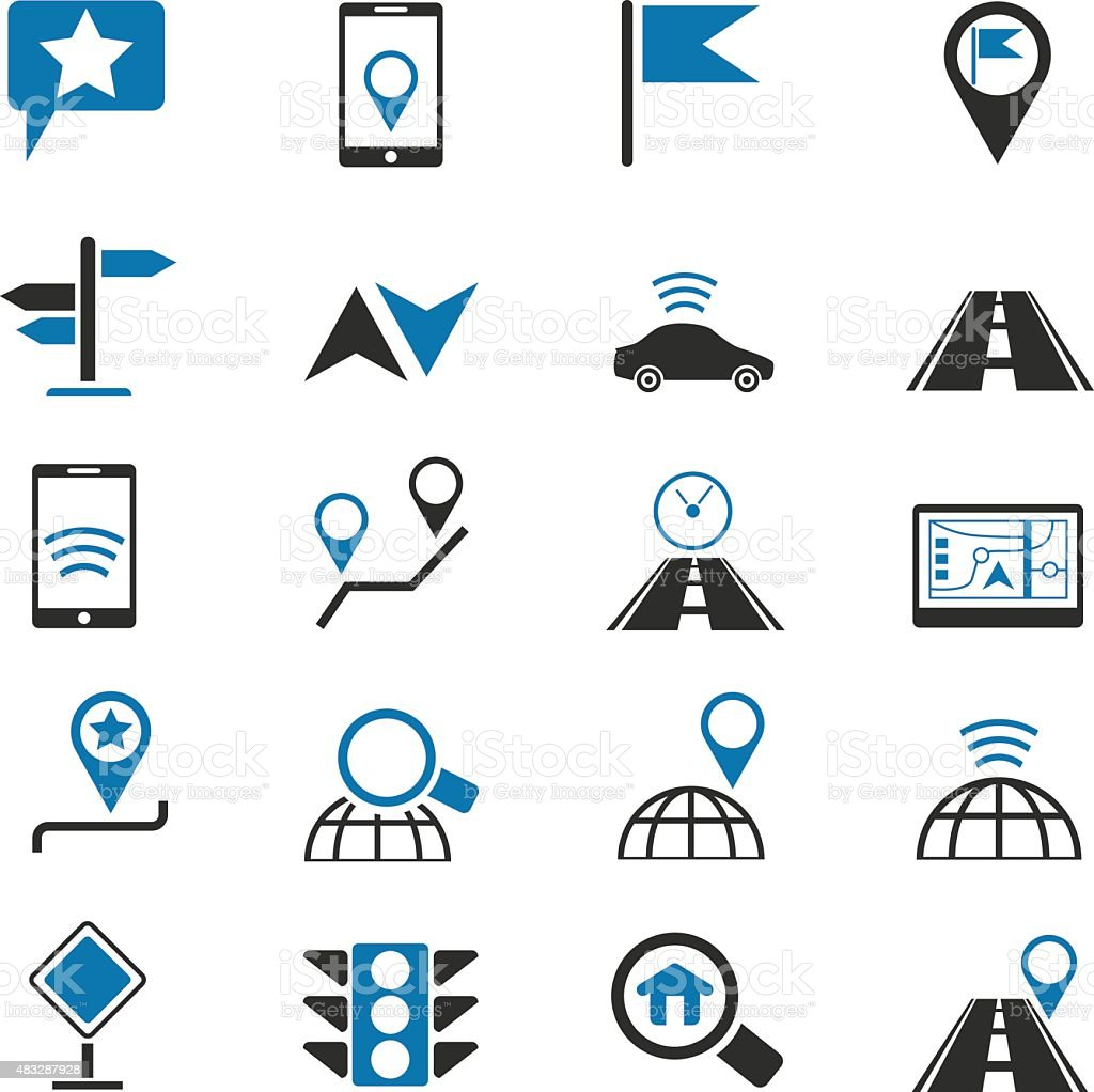 Navigation icons set vector art illustration