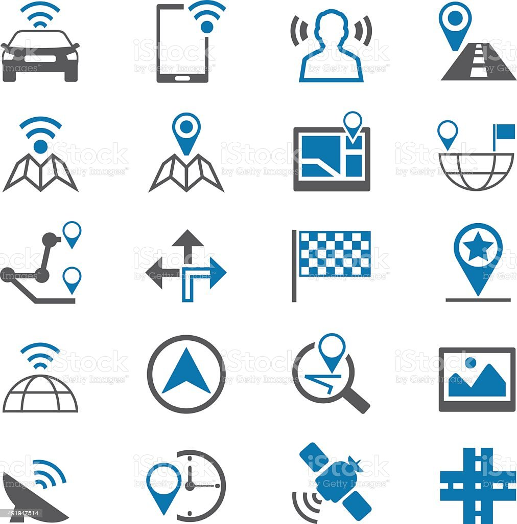 Navigation icons set vector art illustration