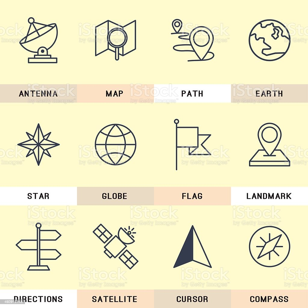 Navigation icons set. vector art illustration