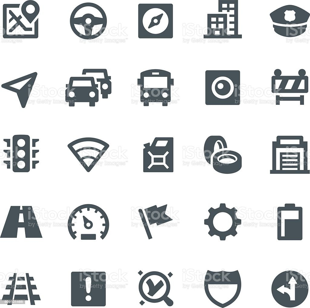 GPS Navigation Icons vector art illustration