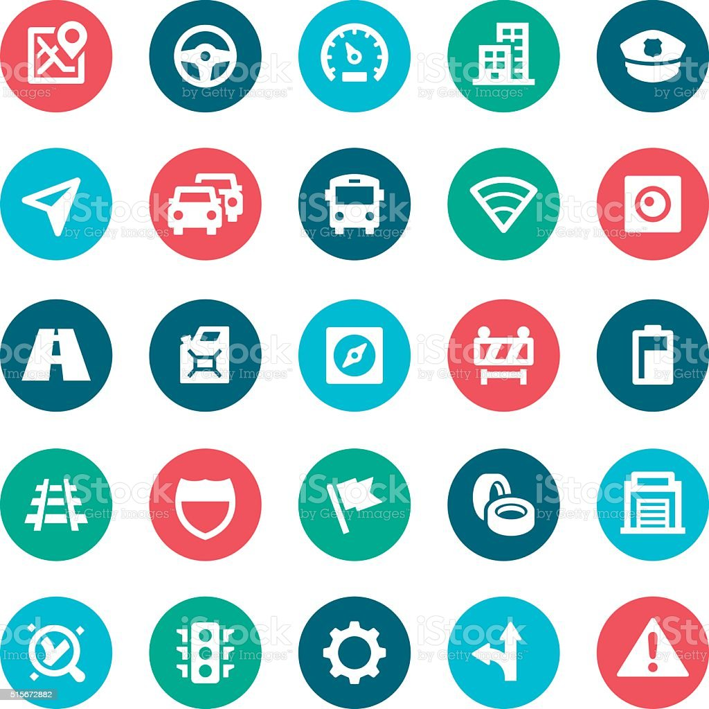 GPS Navigation Icons vector art illustration