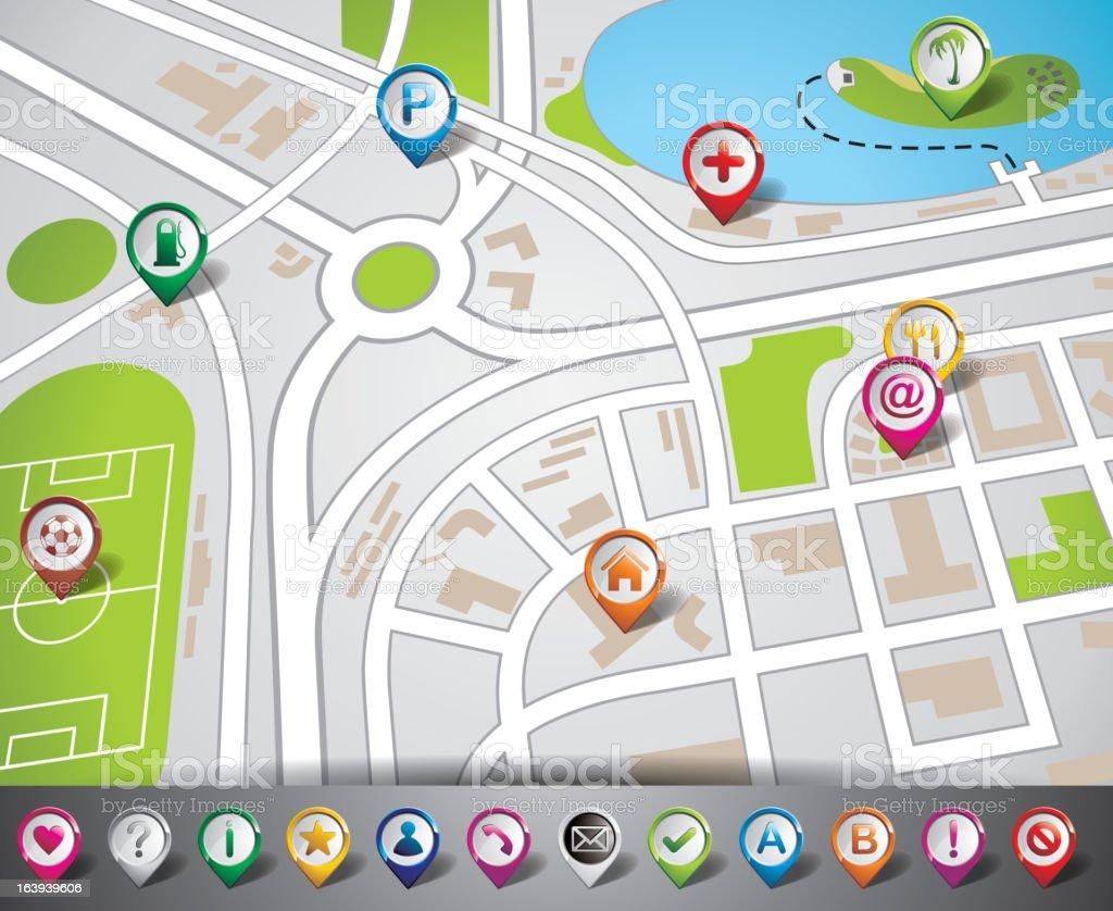 Navigation illustration map design and pointer set. royalty-free stock vector art