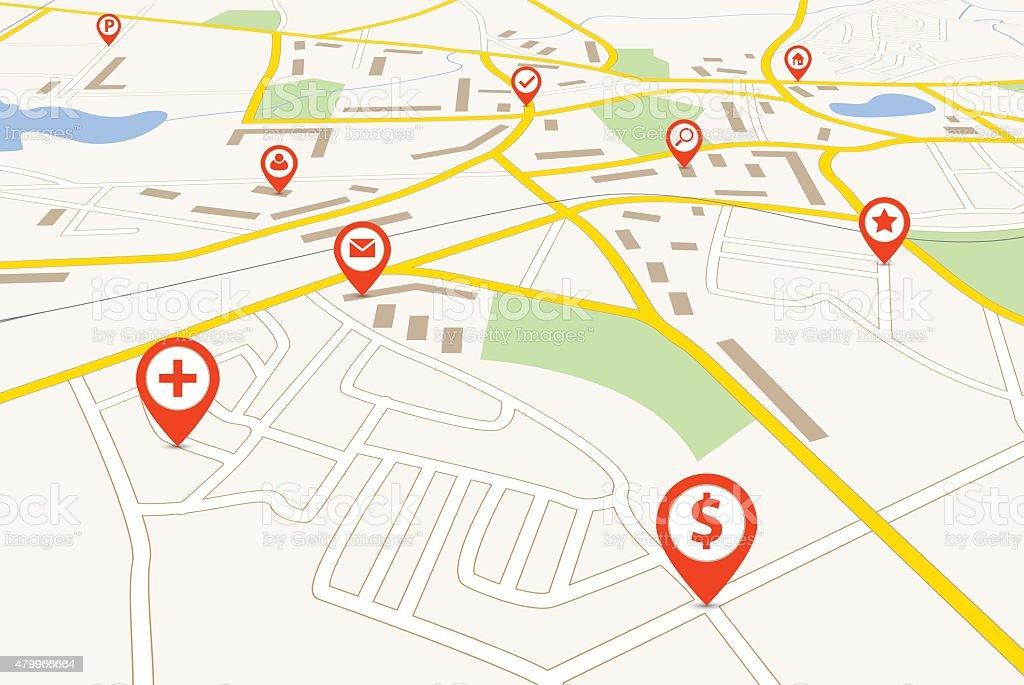 Navigation map vector art illustration
