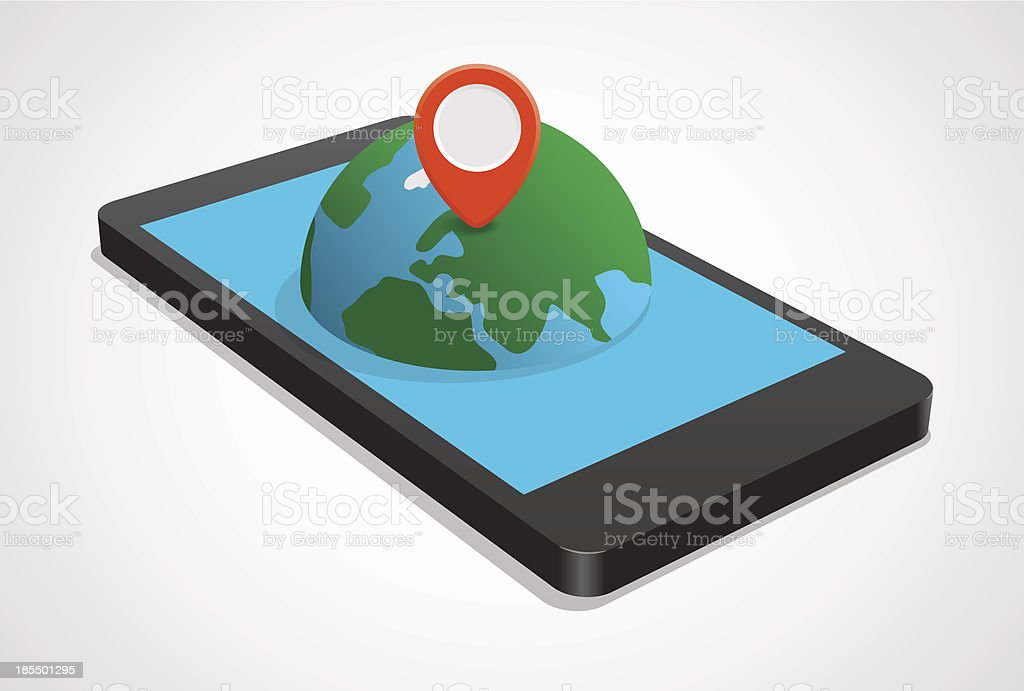 Navigation on mobile phone royalty-free stock vector art