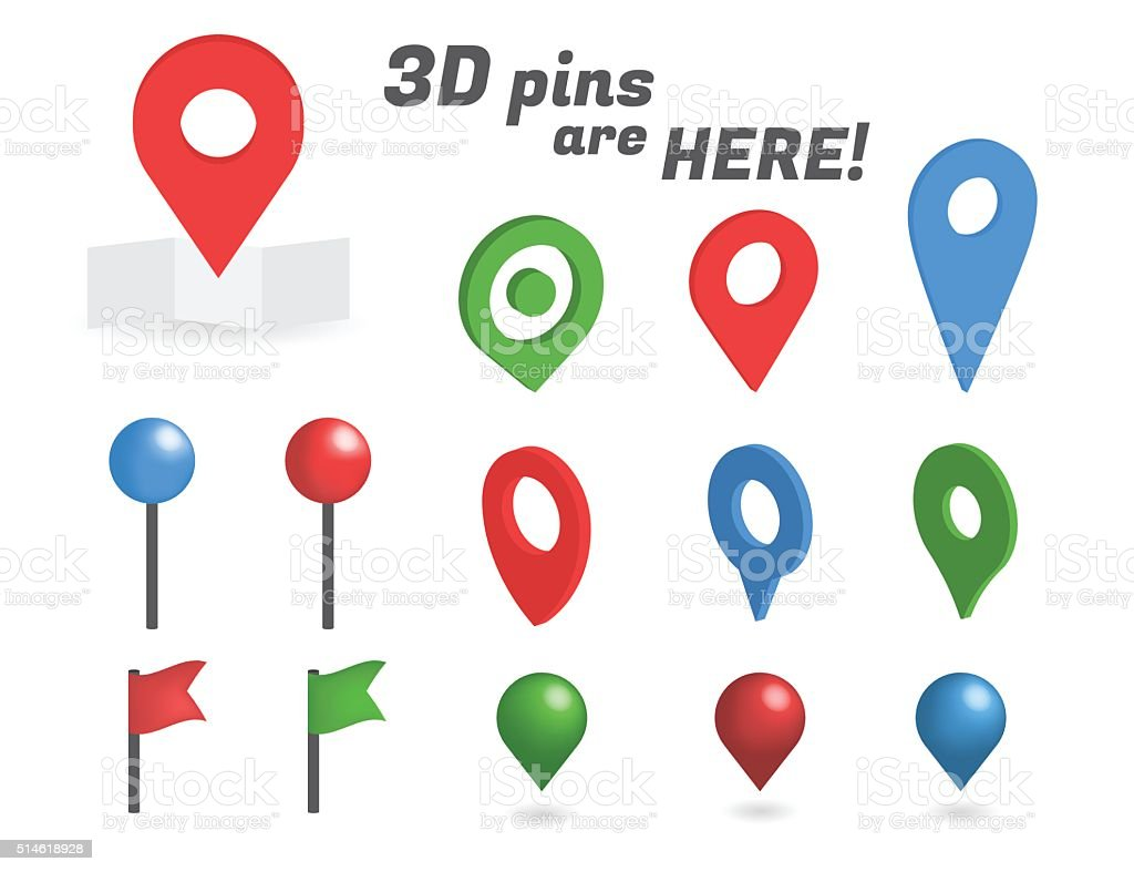 Navigation pins 3d isometric collection vector art illustration