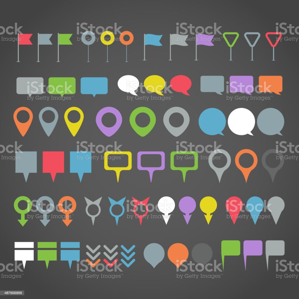 Navigation pins collection vector art illustration