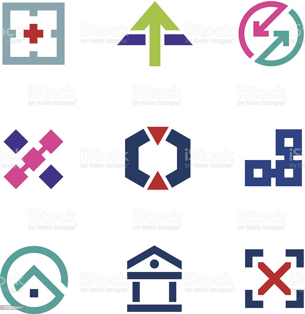 Navigation positioning menu bar startup business logo flexible icon set vector art illustration