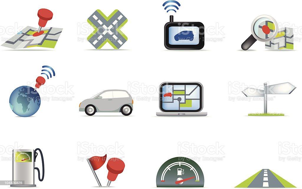 navigation road reisen Sie icon-set Lizenzfreies vektor illustration