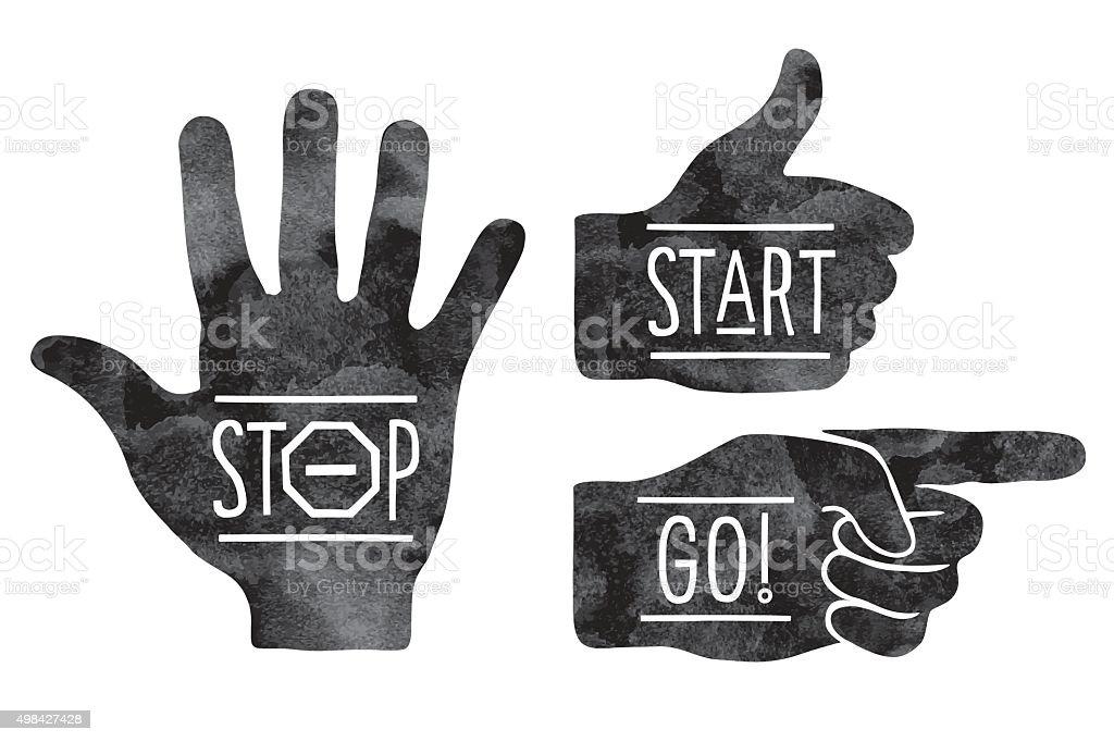 Navigation signs. Black hands silhouettes - pointing finger, stop hand vector art illustration