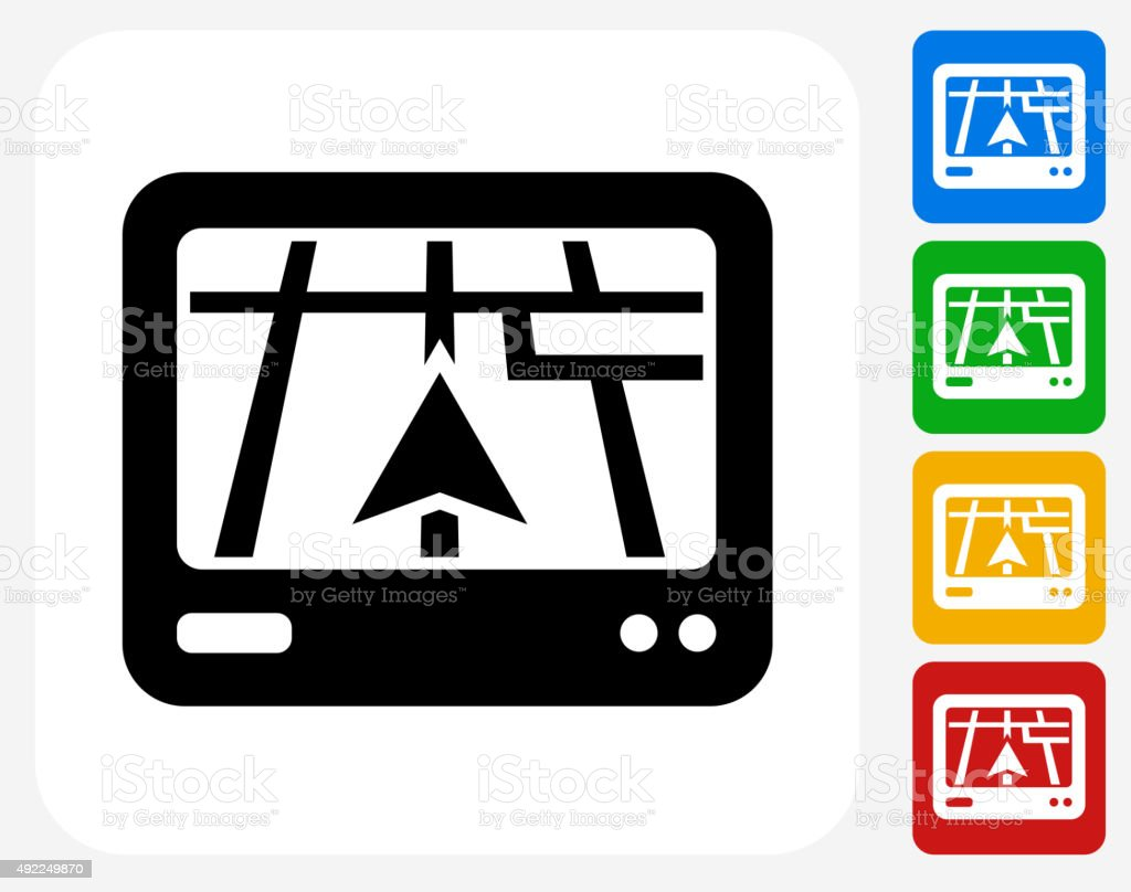 Navigation System Icon Flat Graphic Design vector art illustration