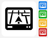 Navigation System Icon Flat Graphic Design