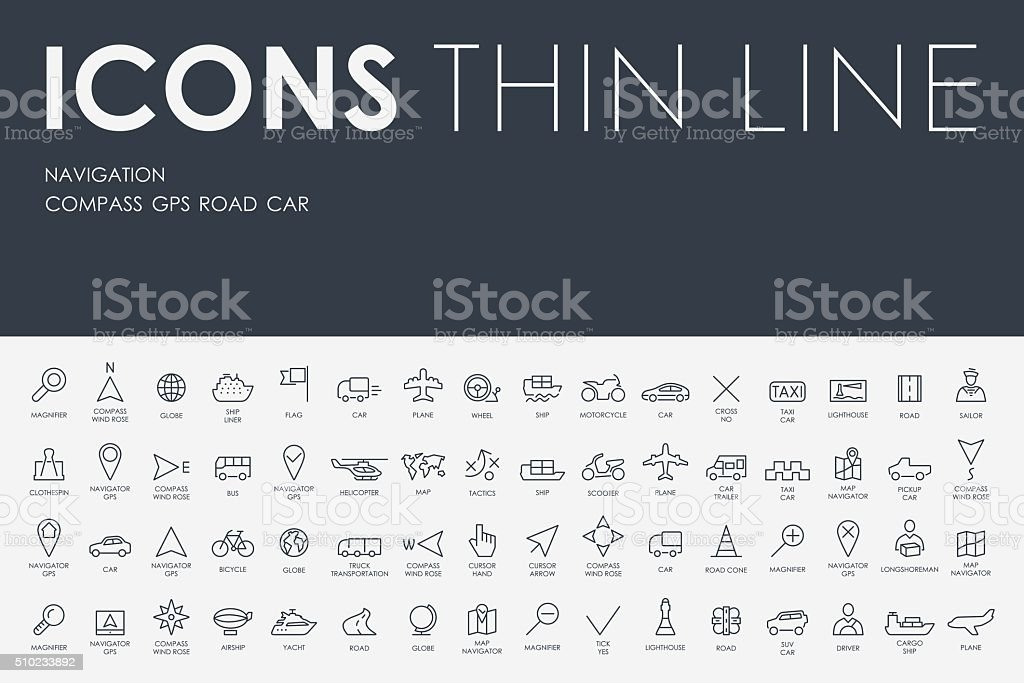 navigation Thin Line Icons vector art illustration