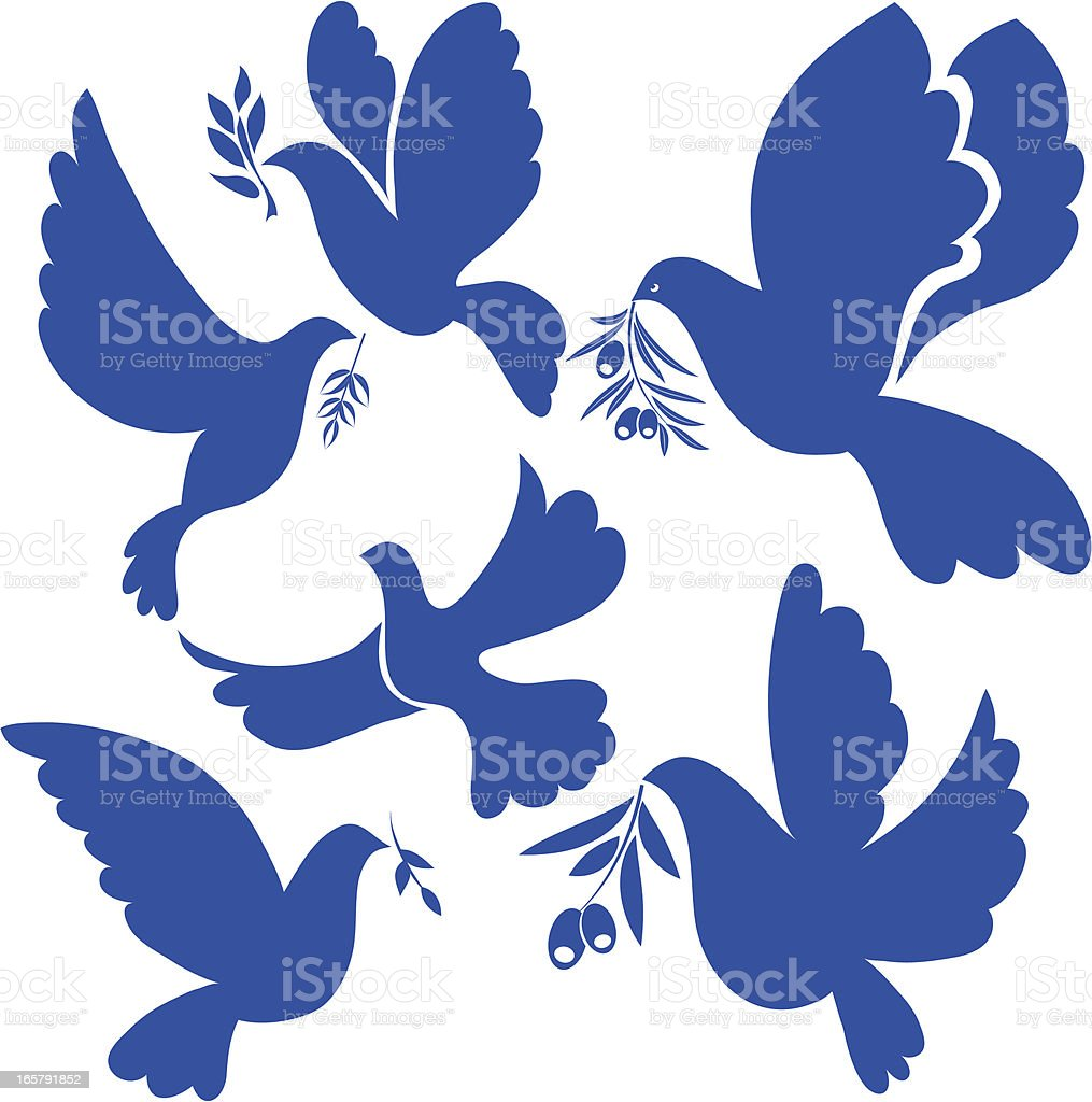 Navy blue flat dove icons on a white background vector art illustration