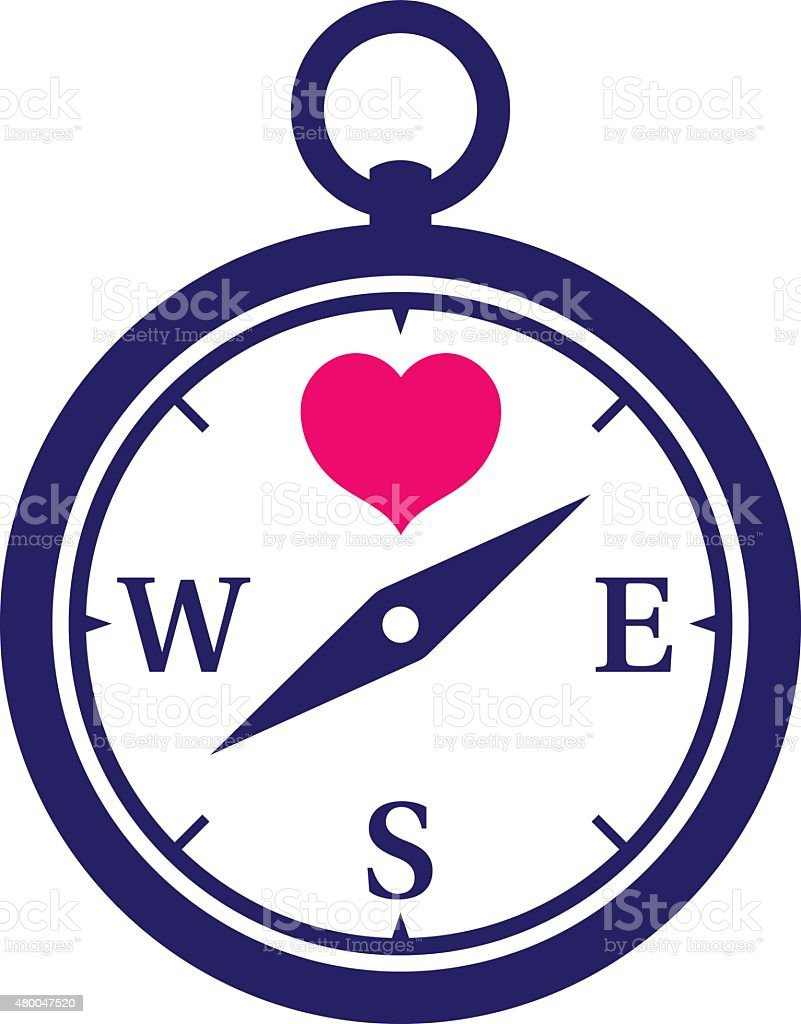 Navy colored compass icon with pink heart vector art illustration