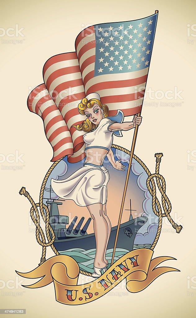 US Navy girl vector art illustration
