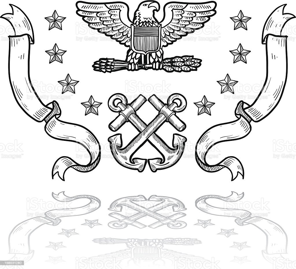 US Navy military insignia sketch royalty-free stock vector art