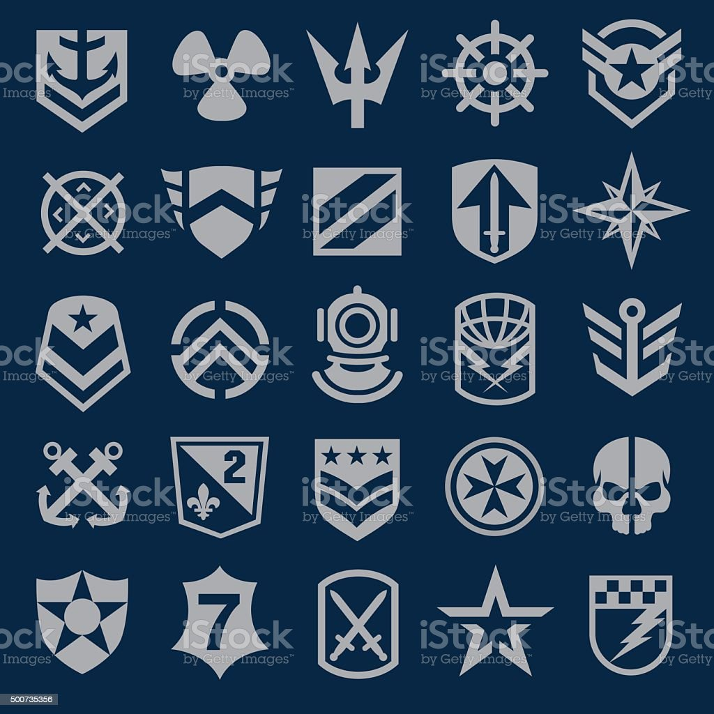 Navy military symbol icons set vector art illustration