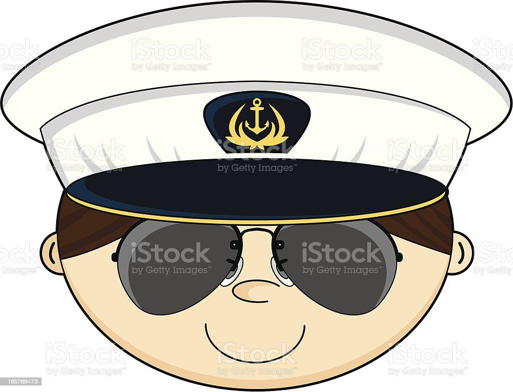 US Navy Officer in Shades vector art illustration