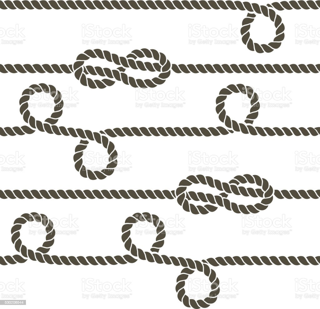 Navy rope with marine knots vector seamless pattern vector art illustration