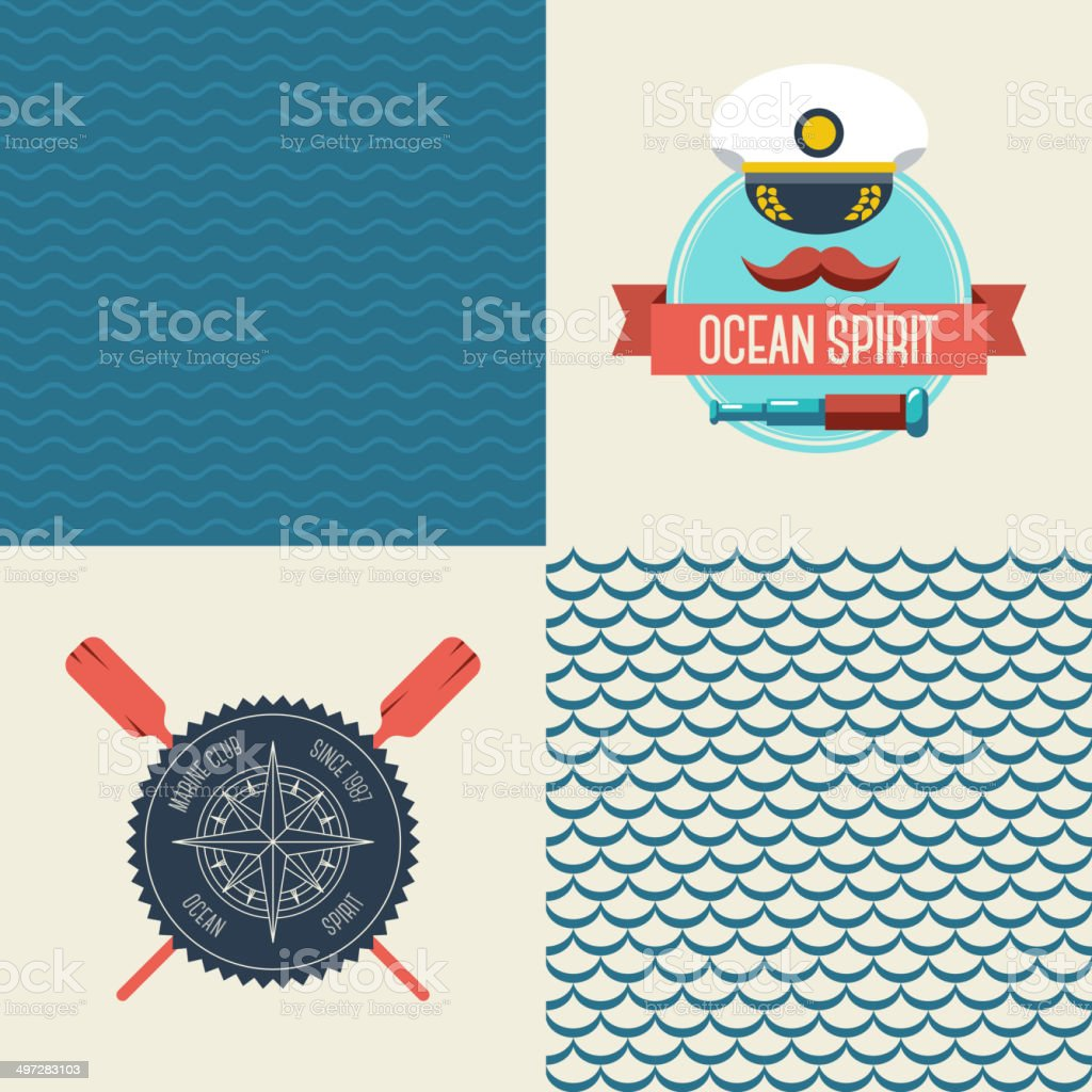 Navy vector seamless patterns set, scallop and waves. vector art illustration